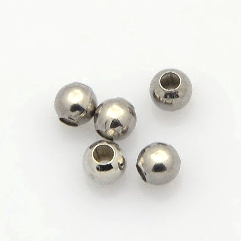 100pcs Round 316 Stainless Steel Loose Spacer Bead 3mm Finding Making Craft DIY