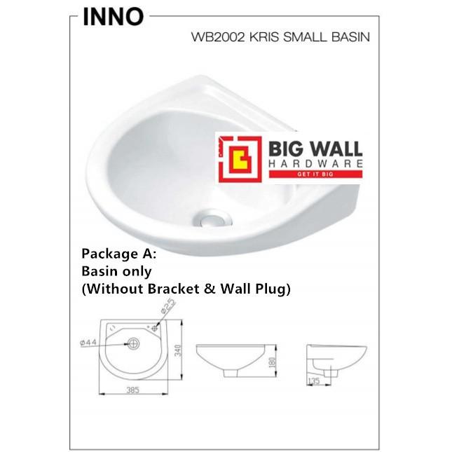 INNO WB 2002 Wall Hung Ceramic Basin for Vanity Bowl/Bathroom Sink (Big Wall Hardware)