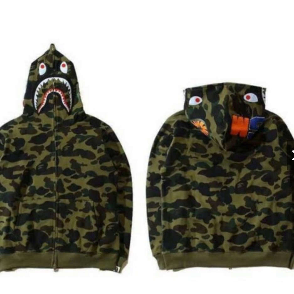 dac290ecf7df NEW Men BAPE Embroidery Shark Head Coat A Bathing Ape Flight Bomber Jacket