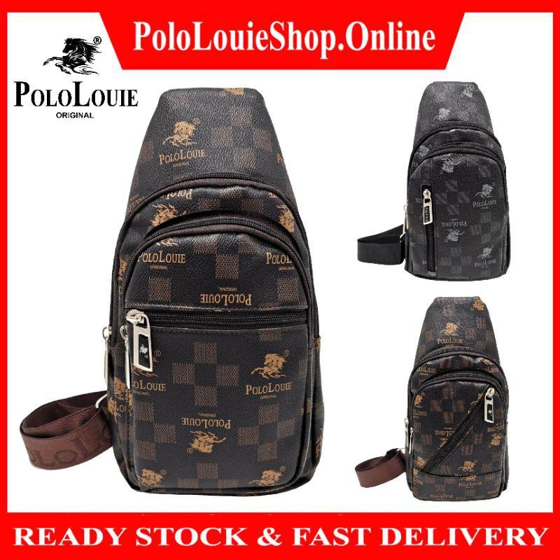 Original Polo Louie Men Luxury PU Leather Fashion Chest Bag Sling Bag Side Backpack