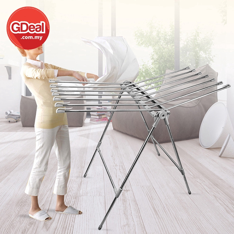 GDeal Clothes Drying Rack Stainless Steel Folding Hanger Laundry Organizer Shelf With Hooks