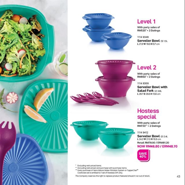 {ReadyStock} (Hostess Special 2.4L×2pcs ONLY) Tupperware Level February 2020 Servelier Bowl