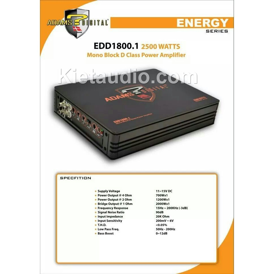 Adams Digital EDD1800 1 Mono Block D Class Power Amplifier