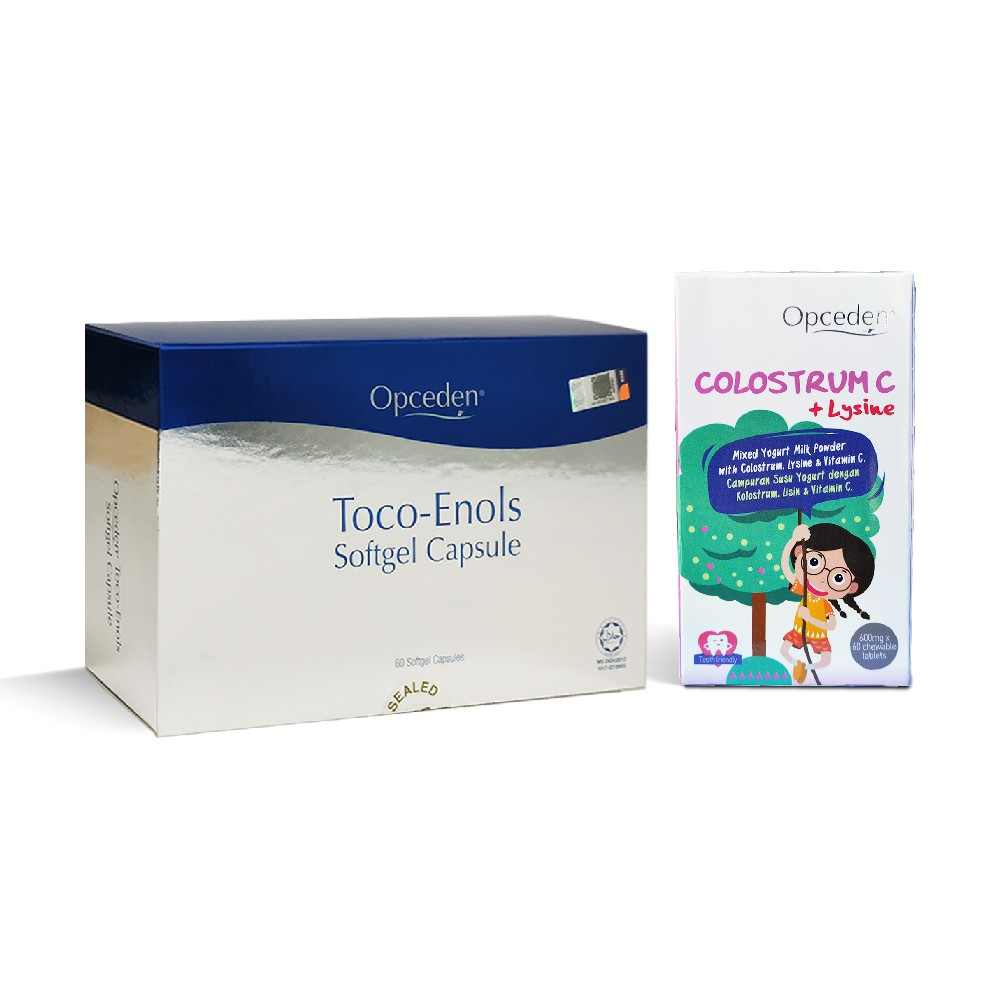 (Combo Set) 1 Box of Opceden Toco-Enols with 60 Softgels + 1 Box of Opceden Colostrum C + Lysine with 60 Chewy Tablets