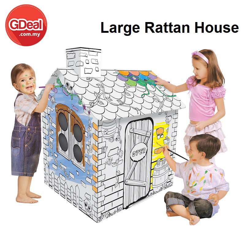 GDeal DIY Doodle Large Rattan House Art Toy Customizable Play House  Foldable Cardboard Play House Toys Gifts (Z008)