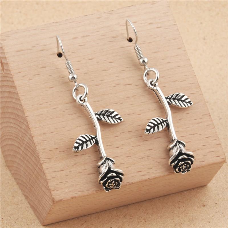 Minimalism Delicate Rose Flowers Hangle Earrings Women Wedding