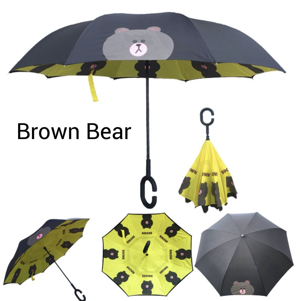 Upside Down Umbrellas with C-Shaped Handle for Women and Men Double Layer Inside Out Folding Umbrella Reverse Inverted Windproof Yellow Rubber Duck Umbrella