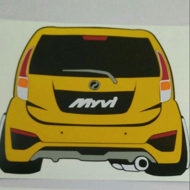 Gambar Kereta Versi Kartun Stiker Custom Made Gambar Kereta Myvi Shopee Malaysia