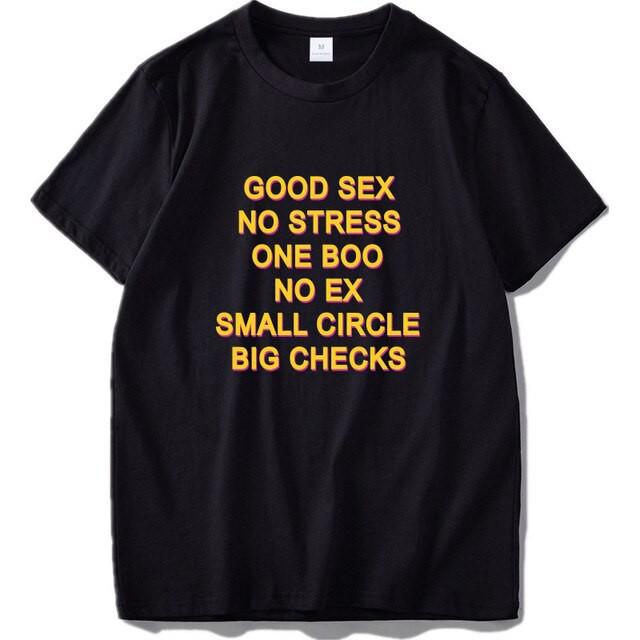 Men/'s Good Sex No Stress One Boo No Ex Short Sleeve Black T-Shirt S-5XL