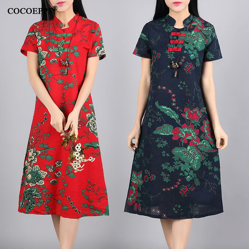 Women Loose Maxi Printed Dress O-Neck Nationsl Style Plus Size Short Sleeve Casual Linen Ruffle Long Dresses