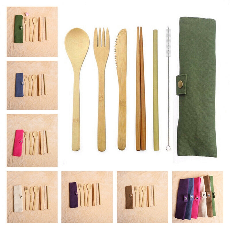 Cutlery Bag Portable Outdoor Camping Holder Fork Spoon Travel Storage Zipper Bag