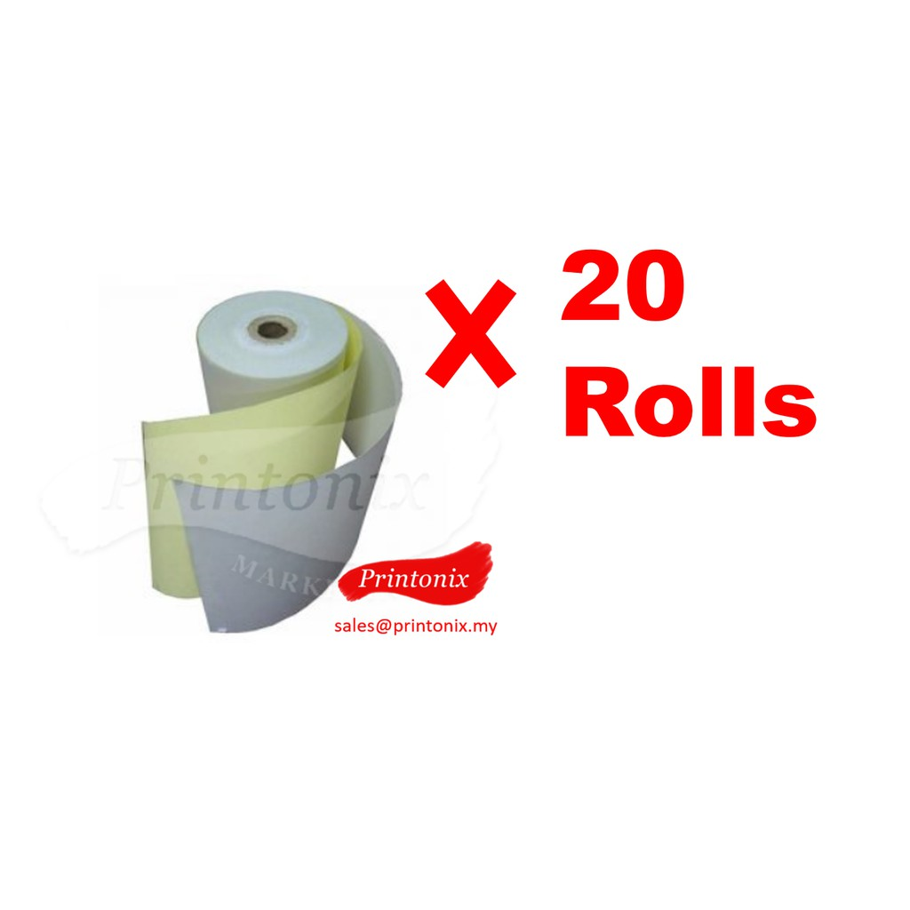 Cash Register Receipt Printer Paper Roll 2ply NCR Paper Roll 76mm x 65mm x  12mm (20 rolls)