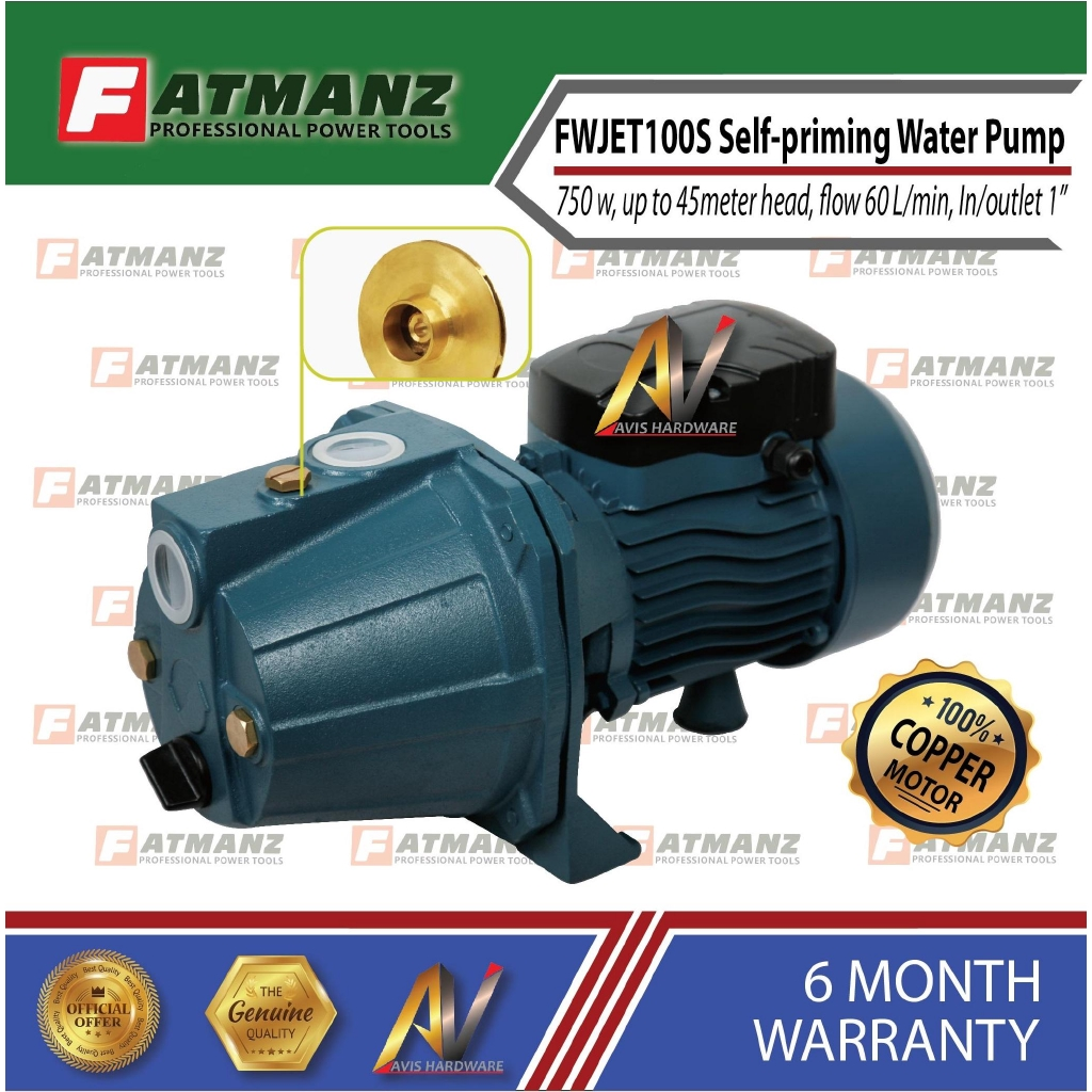 Fatmanz FWJET00S 1 hp Self-priming Water Pump
