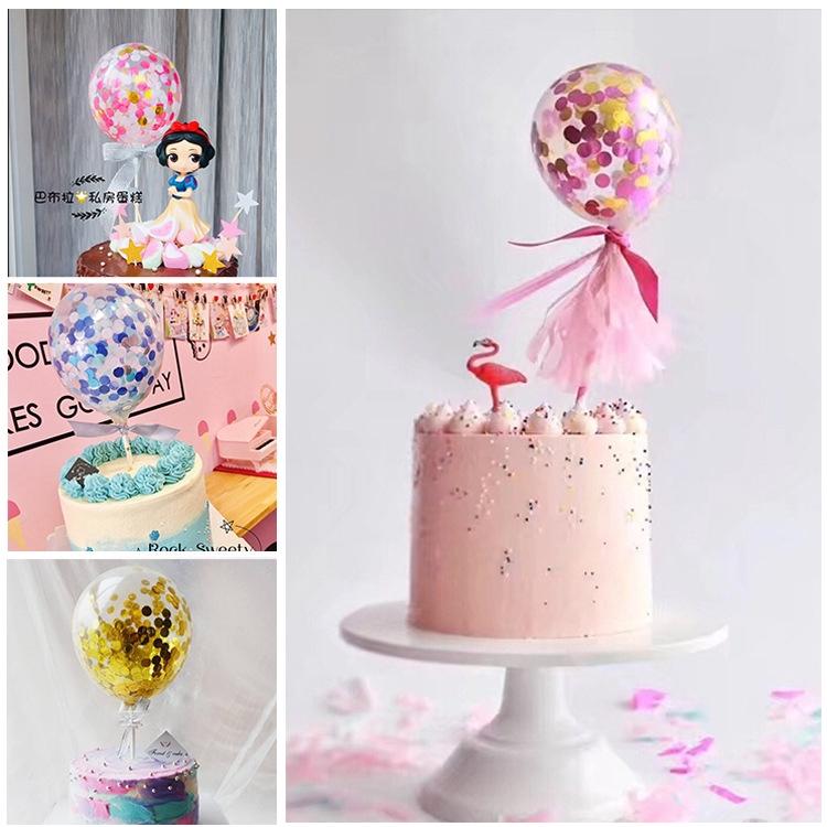 New Birthday Party Decal Balloon Confetti Straw Ribbon Cake Topper Insert Latex
