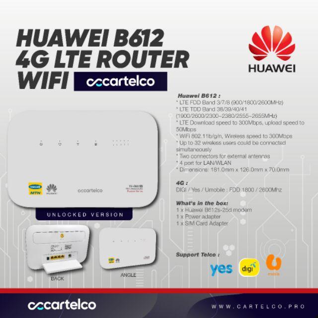 MOD UNLOCK Moderm Huawei B612 B612s-25d Router 4G LTE Cat6 300Mbs CPE Router