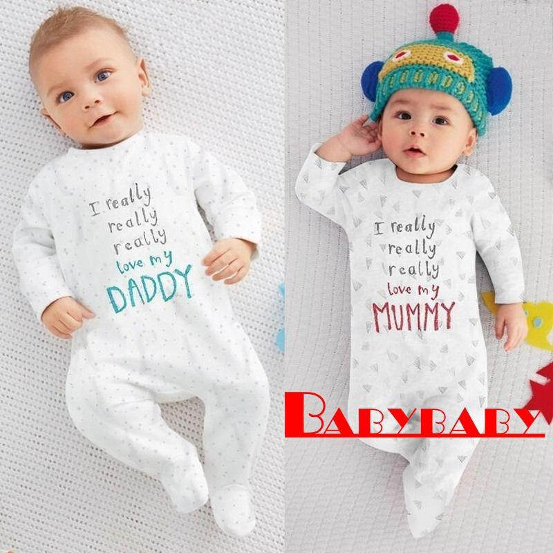 1cb643027 Y..-Newborn Baby Rompers Jumpers I love Mum Dad Cotton Boys Girls ...