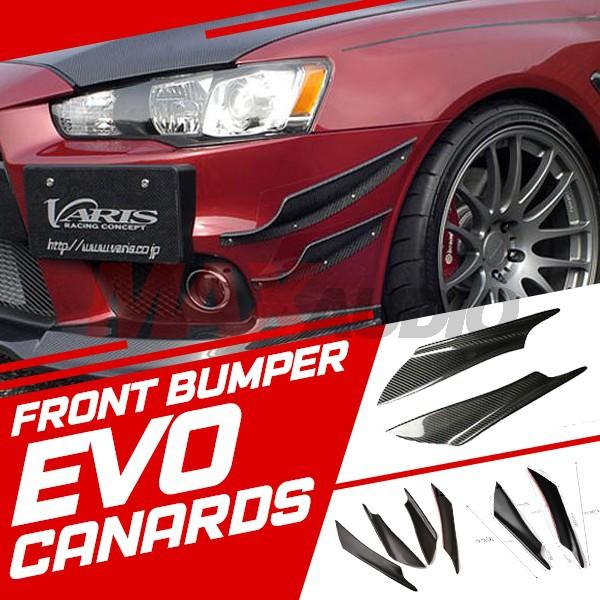 2 Pair Universal Car Black EVO Front Bumper Splitter Fins Body Spoiler Canards