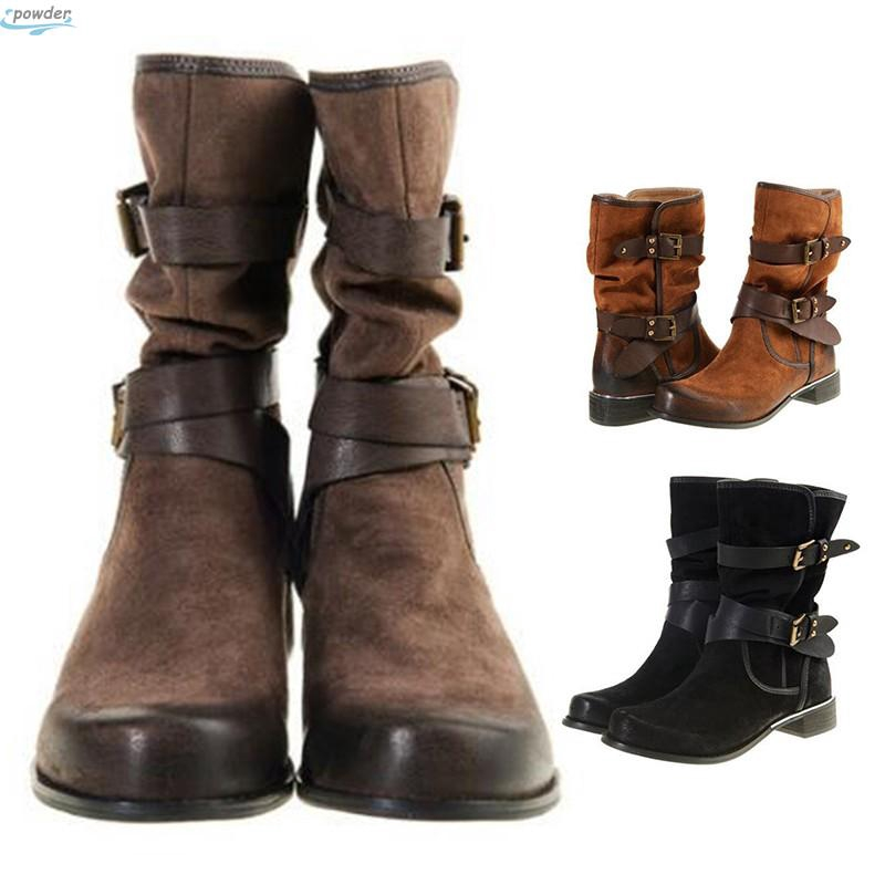 b74b31e0d84 2018 Womens Belt Buckle Square Mid Calf Ankle Martin Round Head Military  Boots