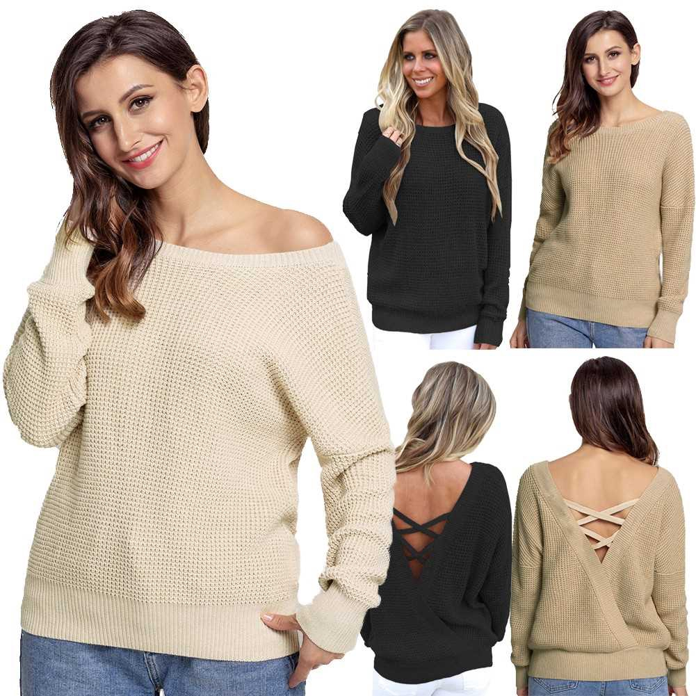Women Knitted Loose Sweater Solid V Back Bandage Cross Over Hollow Out Long Sleeve Casual Jumper (Black)