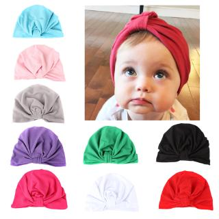 c221a8e44 Children Baby Big Bow Folds Hat Candy Color Soft Velvet Turban Cap ...