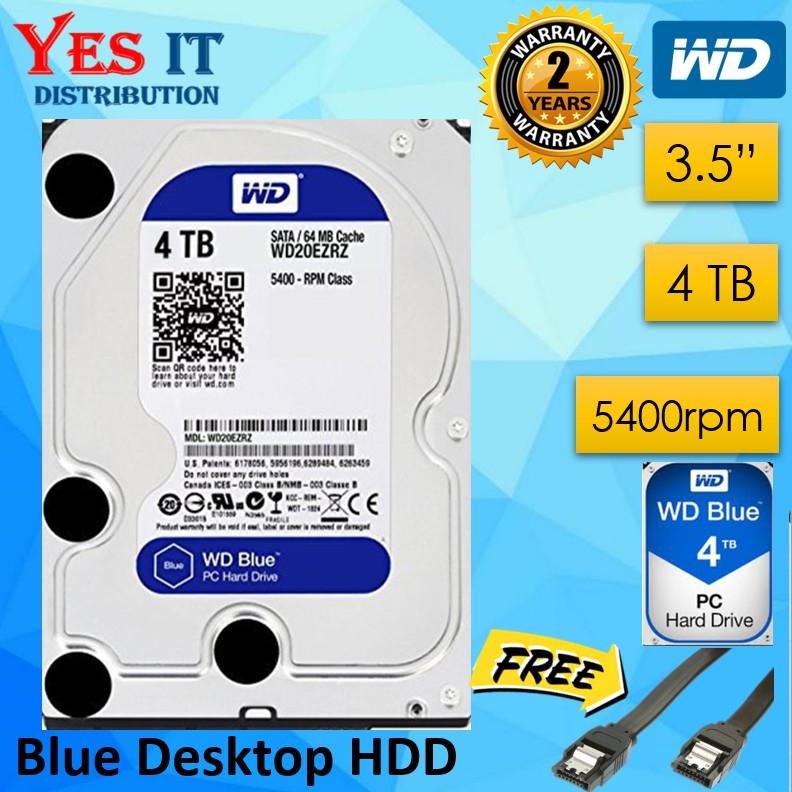 WD Blue 4TB Desktop HDD Internal Hard Disk Drive - WD40EZRZ (FREE SATA  CABLE) (Limited Stock)