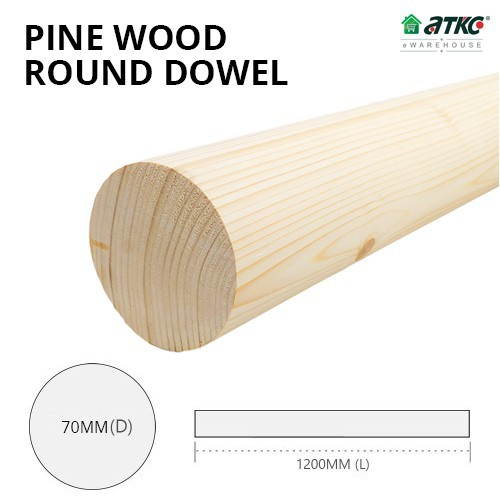 Kayu Pine Wood Timber Smooth Planed Round Dowel 70MM (D) x 1200MM (L)