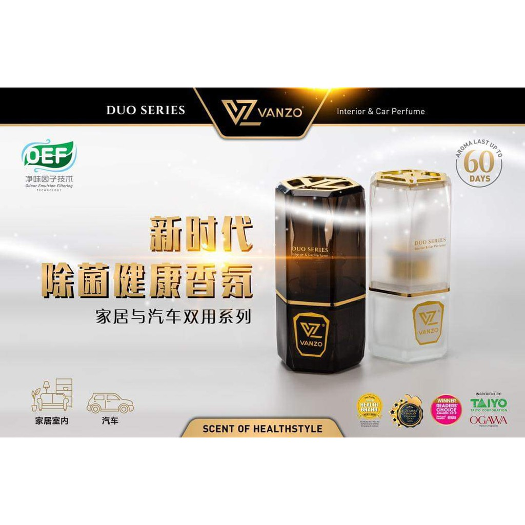 Vanzo Duo Series New Generation Car Air Freshener Car Perfume /Pewangi Kereta Rumah Vanzo/ 新时代除菌健康家居与汽车双用香氛