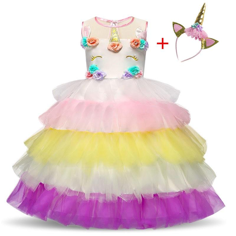 391d7bb43f86b Kids Dresses For Girls Unicorn Party Princess Dress Wedding Flower ...