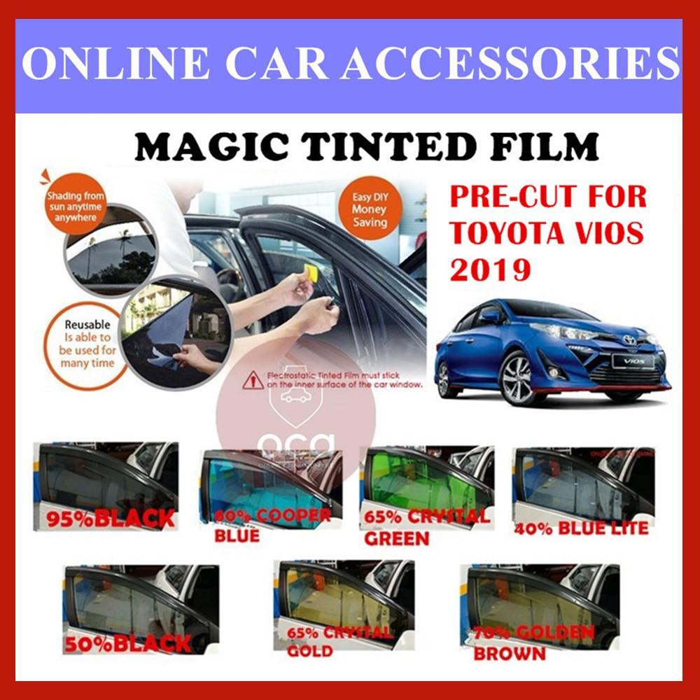 Toyota Vios 2019  - Pre-Cut Shape Magic Tinted Solar Tinted (4 Windows & 2 Triangle /4 Windows+Rear)