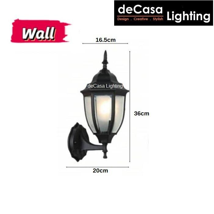 Outdoor Pendant Light / Outdoor Wall Light / Outdoor Pillar Light - Frosted Glass Series - Black (8817)