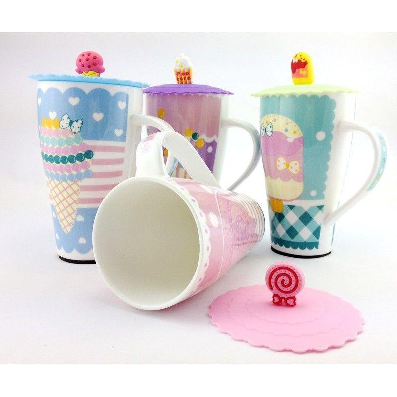 Cute Lollipop Ceramic Cup with Lid (650ml)