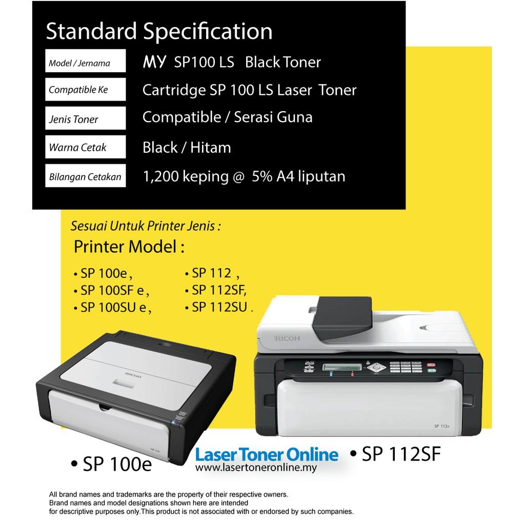 Compatible Ricoh SP100 SP100E SP100LS SP100HS SP100SU SP112