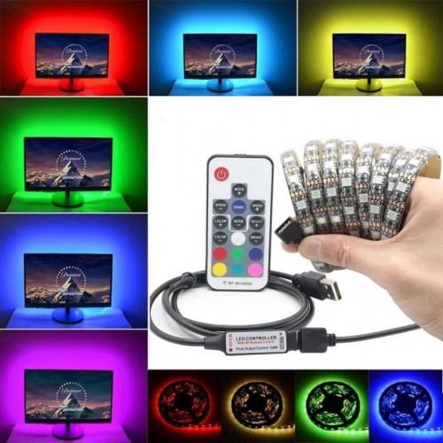 Waterproof USB LED Strip MultiColor Light RGB 5050 17keys remote controller 5V