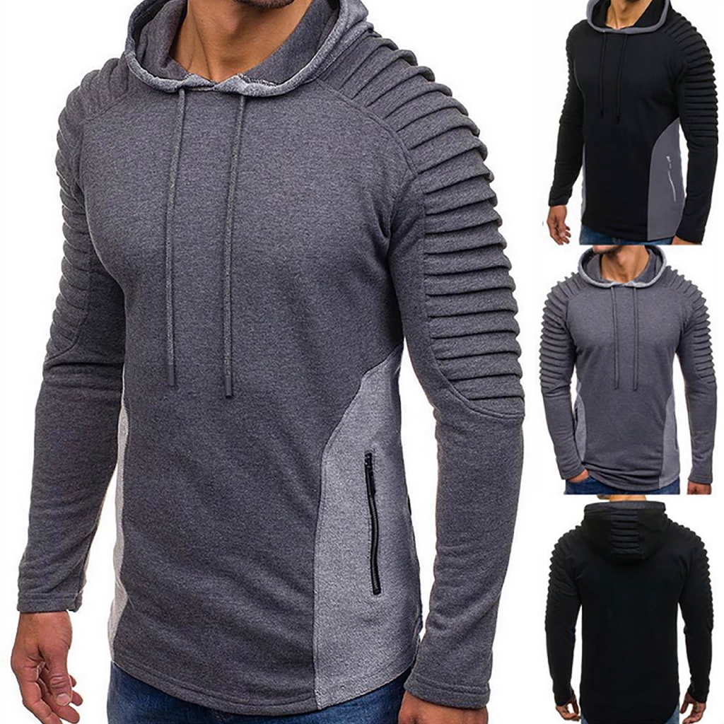 Mens Hoodies Pullover Mens Casual Slim Fit Long Sleeve 1//3 Zipper Collar Pleated Shirts Pullover Hoodie Solid Top