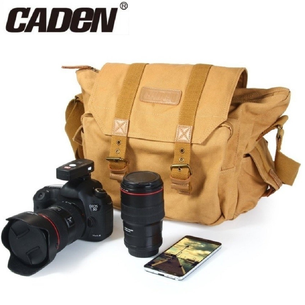 Vintage Waterproof Canvas Camera Bag Messenger Bag for Dslr Camera and Lens Khaki Yellow Color