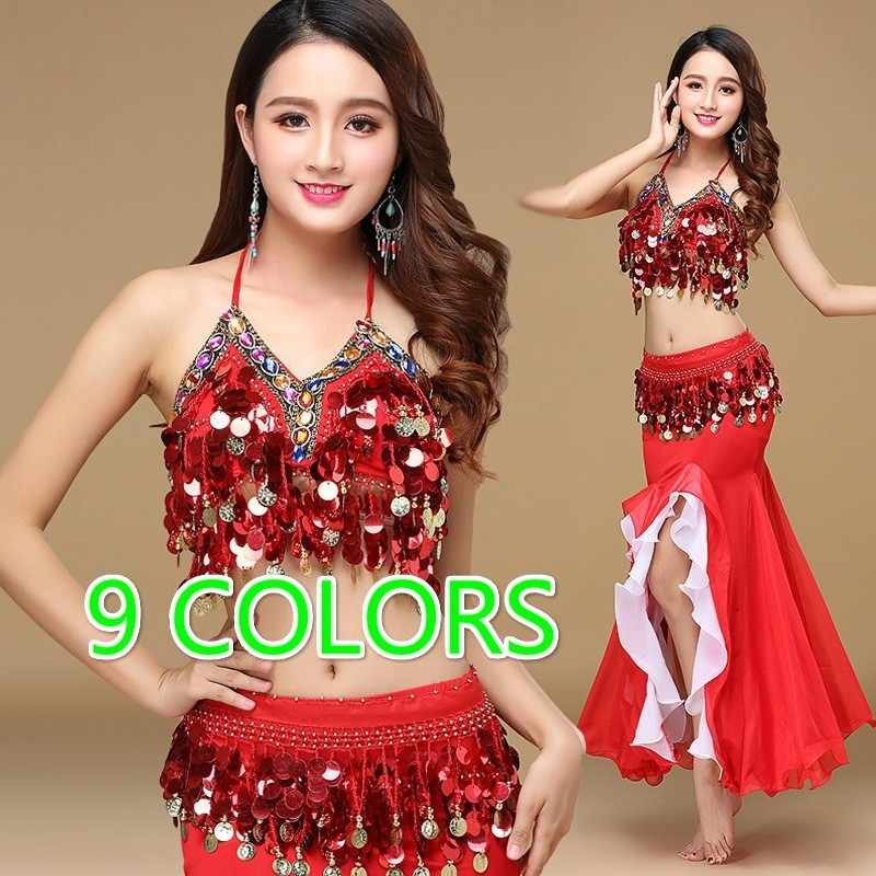 Professional Belly Dance Costume Bra and Long Skirt 2pcs set Performance Dance