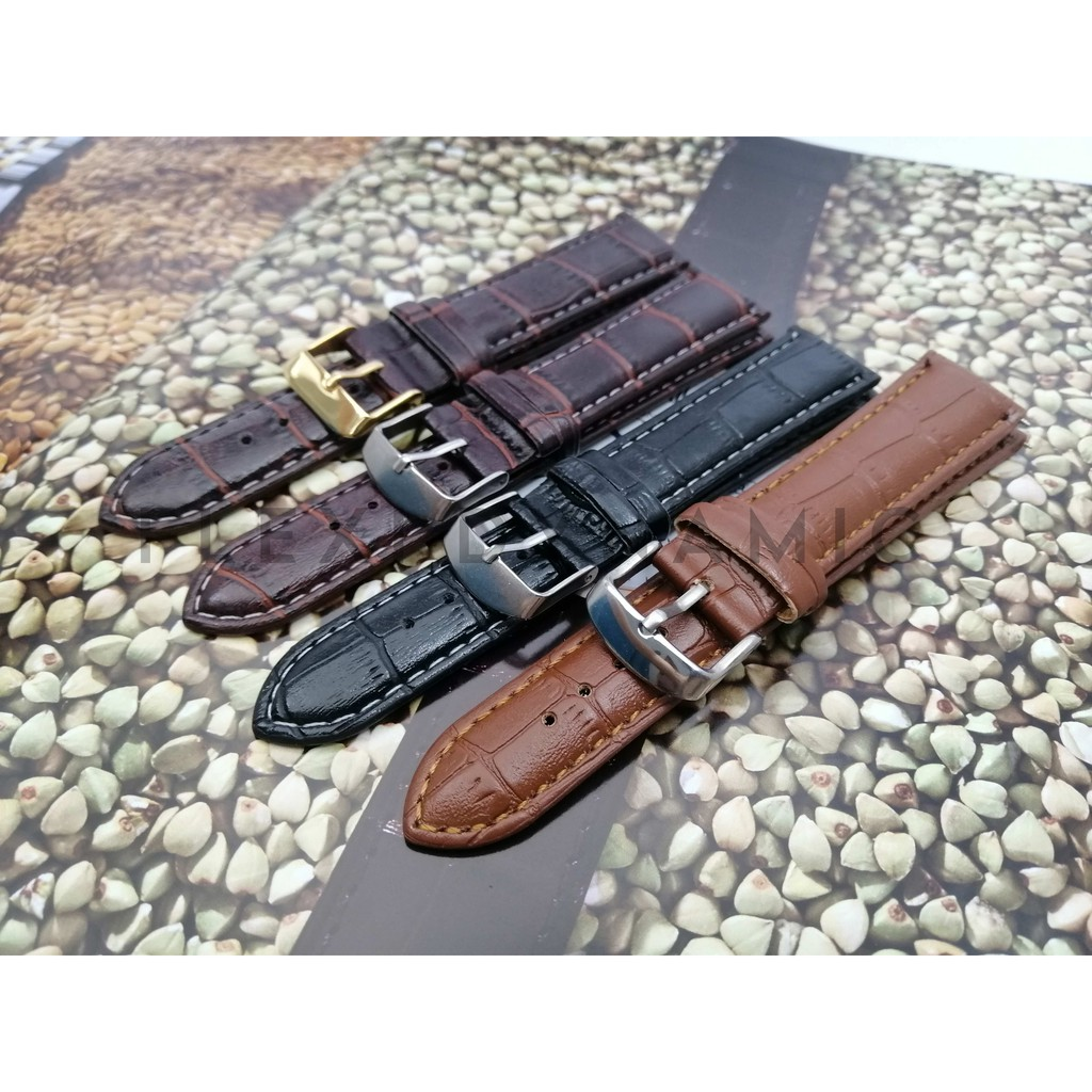 (Local Seller) 20mm Slub Pattern Leather strap Watches band stainless steel Pin Buckle Wristwatch Strap