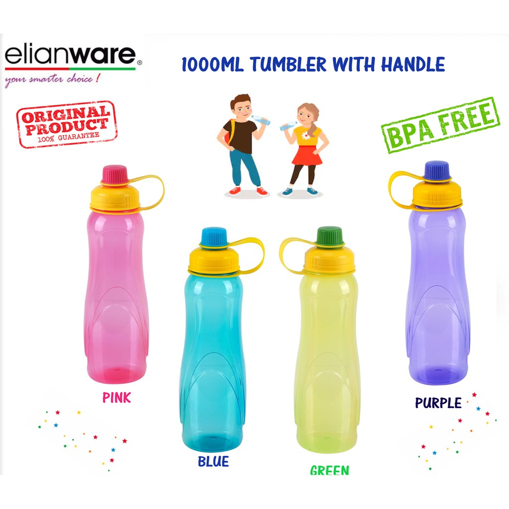 Elianware 1000ml Tumbler with Handle BPA FREE water bottle air botol 1 liter (Pink, Green, Blue, Purple)