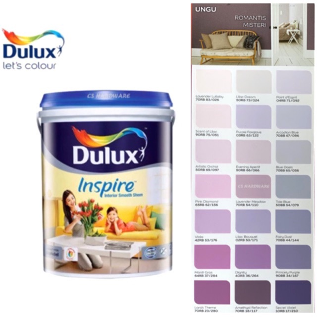 5 Litre ICI DULUX Inspire Interior Smooth Sheen Paints (PURPLE)
