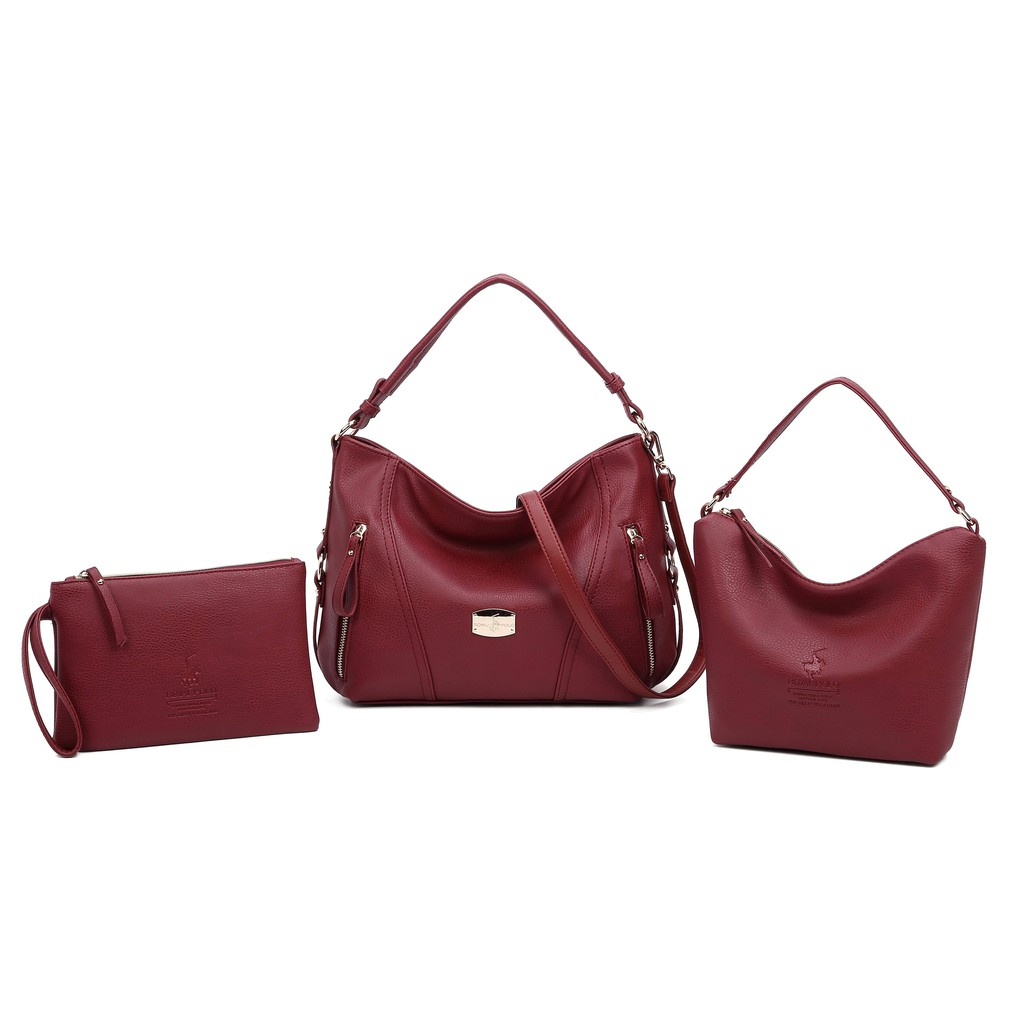 ROYAL POLO Molly Moody Handbag 3 in 1 Set [Free Sling Bag + Button Envelope Wristlet]
