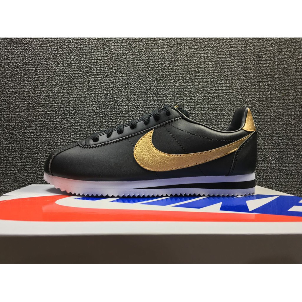 quality design 26bcf c5be3 original nike cortez leather classic black gold men women sport running  shoe3644