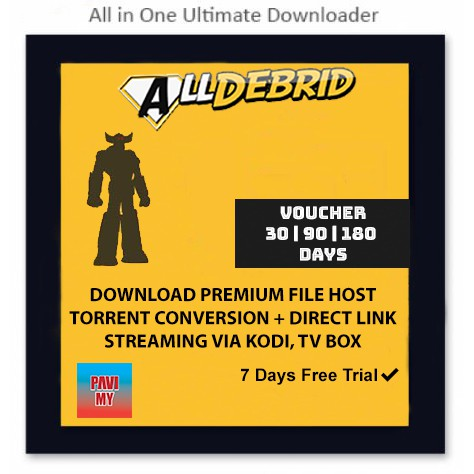 AllDebrid Voucher: Download,Torrent,Stream Via Kodi And Android TV Box | High-Speed, Unlimited, Super Pack