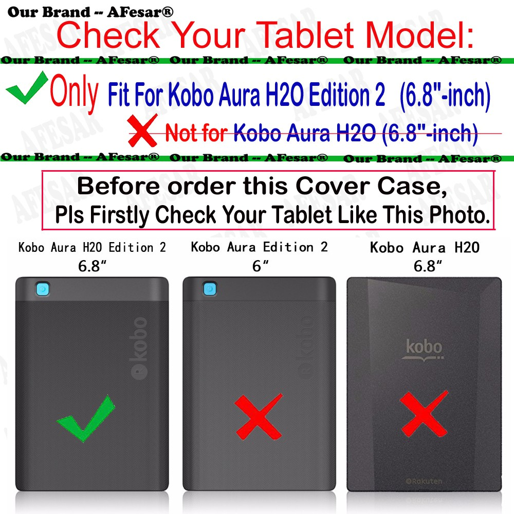 Cover Case For Kobo Aura H2O Edition 2 6 8 inch eReader with magnetic