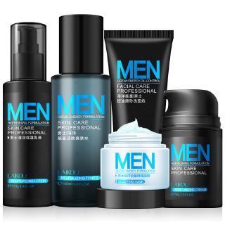 YTMH-5Pcs Men Repair SkinCare Set Facial Cream +Cleanser+