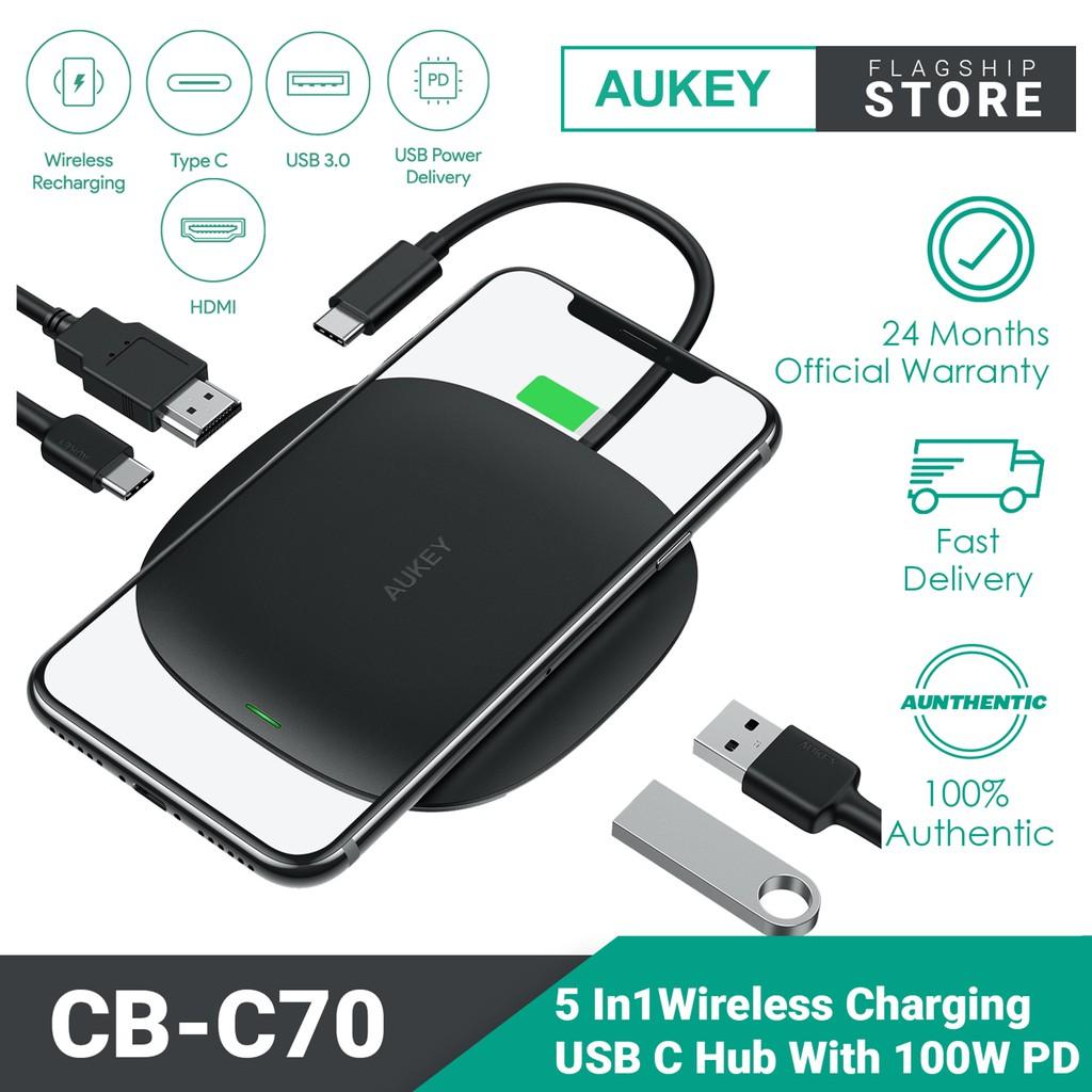 Aukey 5 in 1 Wireless Charging USB C Hub with 2 USB 3.0 Ports/4K HDMI/100W Power Delivery CB-C70