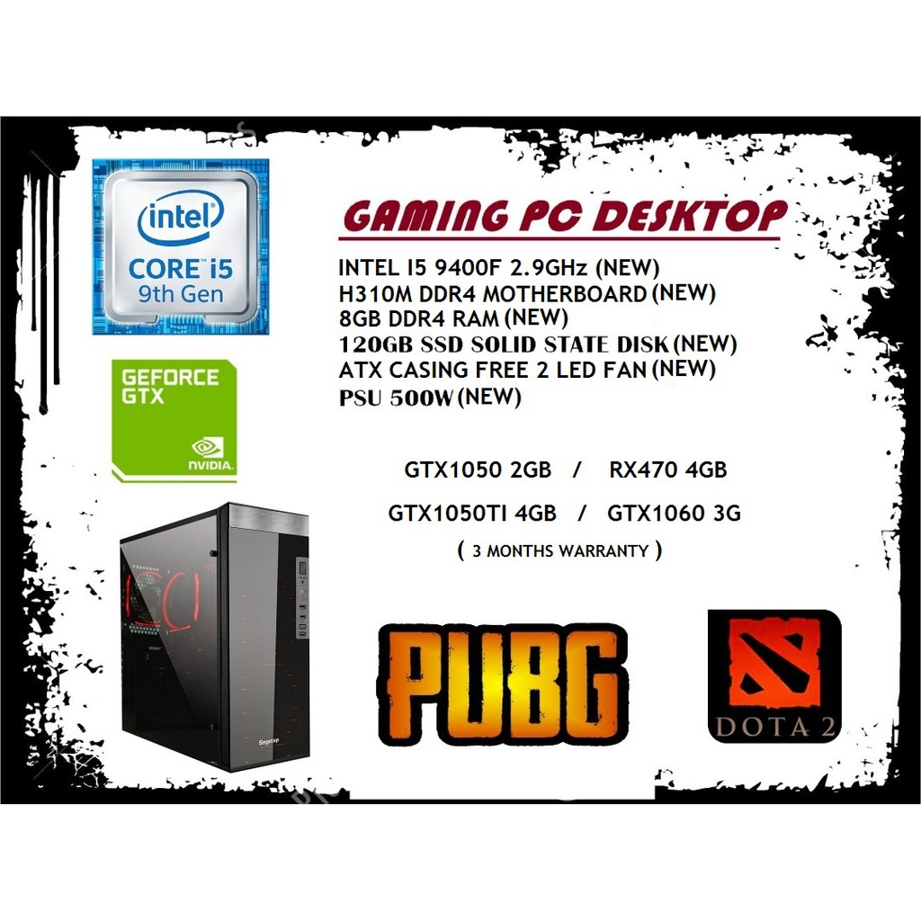 K6 GAMING PC DESKTOP ( I5-9400F/ H310M-K/ 8GB/ 120GB SSD / FSP 500w/  GTX1060)