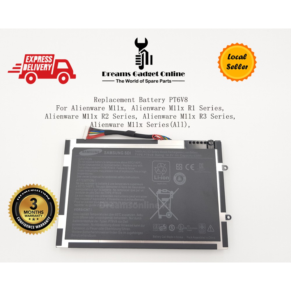 Replacement PT6V8 Battery GenuineDell Alienware M11x M14x