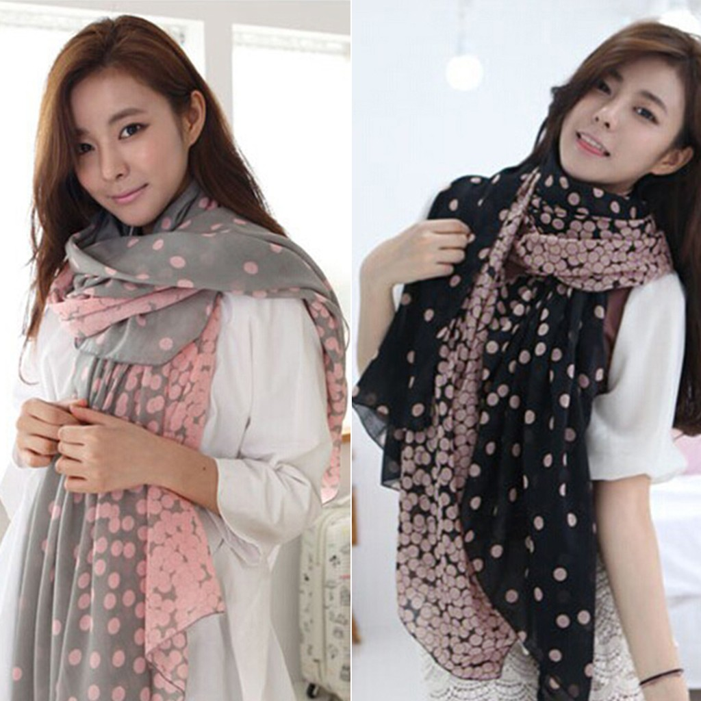 Women Crinkled Fabric Multi Polka Dot Scarf Long Woven Warm Winter Scarves