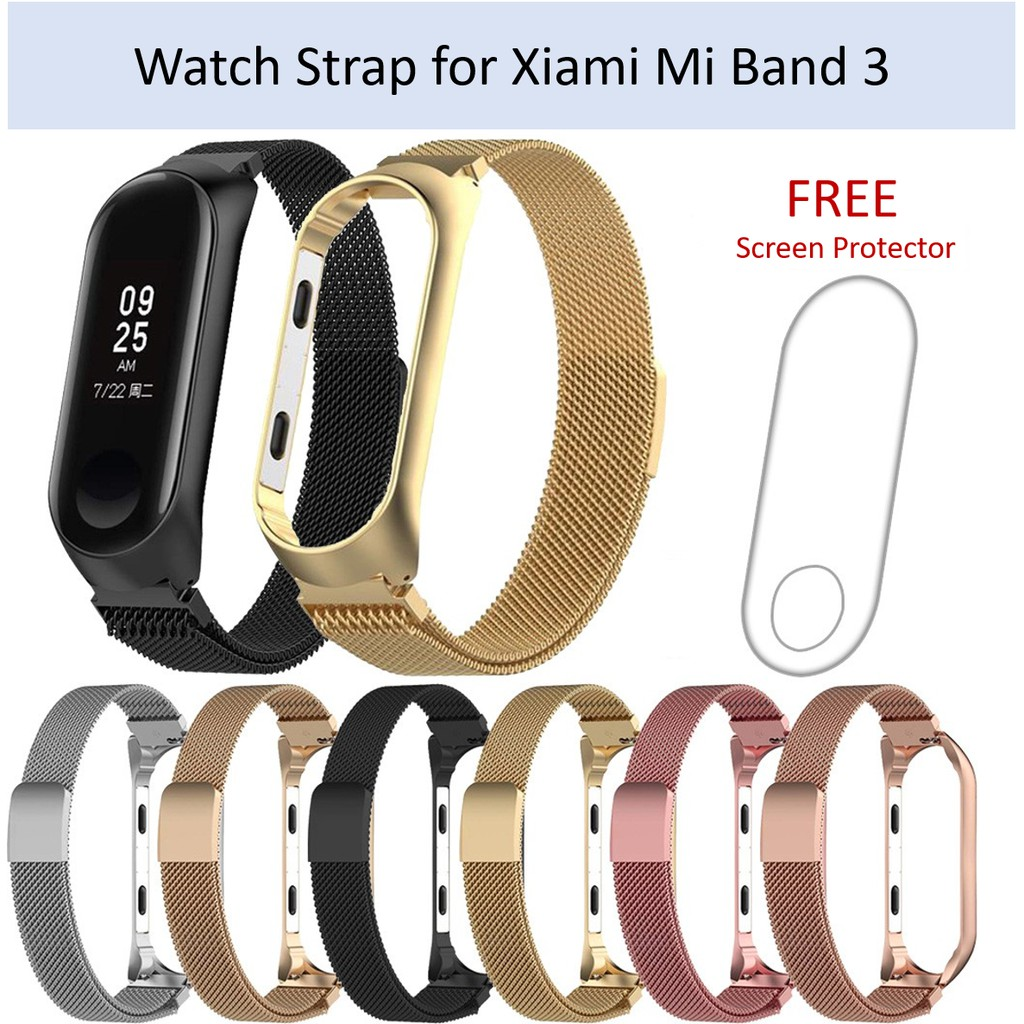 Xiaomi Mi Band 3 Milanese Strap Stainless Steel Watch Band with Screen Protector 小米手环3智能手表3不锈钢金属表带 (送钢化膜)