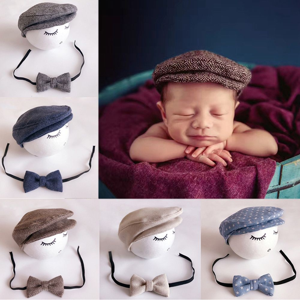 3bc0840193c18 Handmade Infant Beanie Cap Photography Props Baby Hat + Bow Tie Outfits Set
